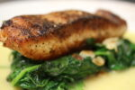 Broiled Salmon over Spinach at Vito's Pizzaria